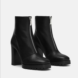 ZARA Leather Lug Soled Ankle Boots